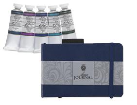 FREE! 3-1/2 inch x 5-3/4 inch Pentalic Aqua Journal when you buy any M. Graham Watercolor Set.