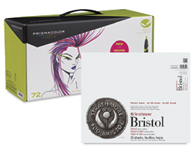 FREE! 14 x 17 Strathmore 500 Series Bristol Pad when you buy a Prismacolor Premier Double-Ended Brush Tip Marker Set of 72.