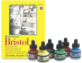 FREE! 9 x 12 Strathmore 300 Series Smooth Bristol Pad when you buy a Daler-Rowney FW Acrylic Water-Resistant Artists' Ink Primary Color Set.