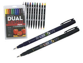 FREE! Tombow Fudenosuke Brush Pen Set of 2 when you buy a Tombow Dual Brush Pen Primary Color Set of 10.