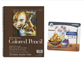 FREE! 9 x 12 Strathmore 400 Series Colored Pencil Pad when you buy a Lyra Rembrandt Polycolor Oil-Based Colored Pencil Set of 24.