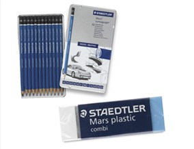 FREE! Staedtler Mars Combi Plastic Eraser when you buy a Staedtler Lumograph Drawing and Sketching Pencil Set of 12.