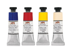 Free sampler set containing one 15 ml tube each of Yellow Lake, Warm White, Scarlet Lake and Ultramarine Blue when you buy $45 worth of Michael Harding Oils.