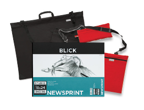 "FREE! 18"" x 24"" Blick Studio Newsprint Pad when you buy a Black or Red 24"" x 31"" Blick Studio Series Softside Portfolio."