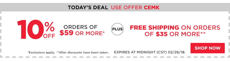 10% Off Orders $59 + Free Shipping $35.