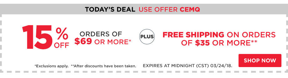 15% Off Orders $69 + Free Shipping $35.