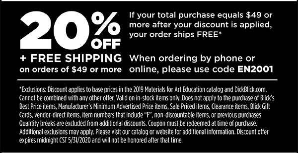 20% Off Order if your total purchase equals $49 or more after your discount is applied. Order ships free when order after discounts is $49 or more.  When ordering by phone or online, please use code EN2001. Expires 5/31/2020