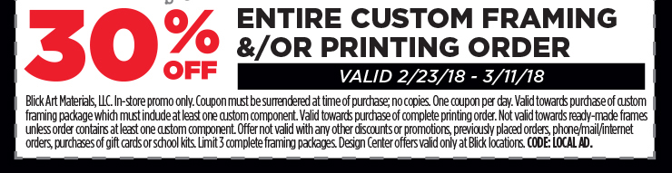 30% off entire custom framing &/or printing order