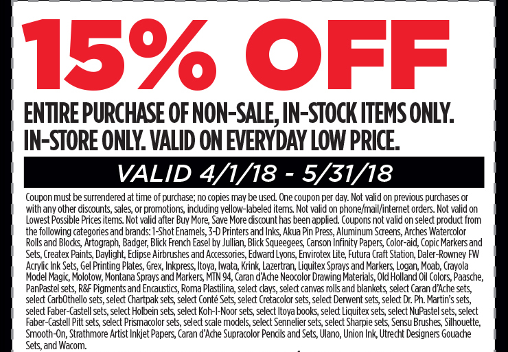 15% off entire purchase of non-sale, in-stock items only. In-store only. Valid 4/1/18 - 5/31/18