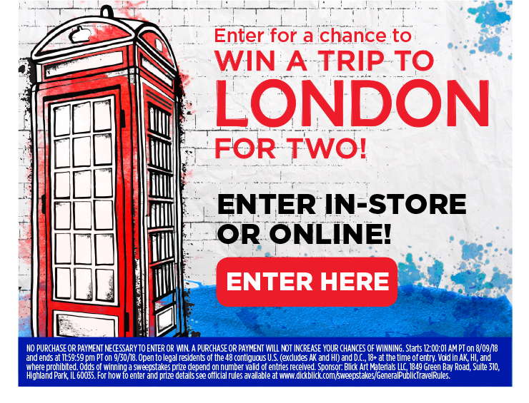Enter for a chance to win a trip to London for two! Enter in-store or online!