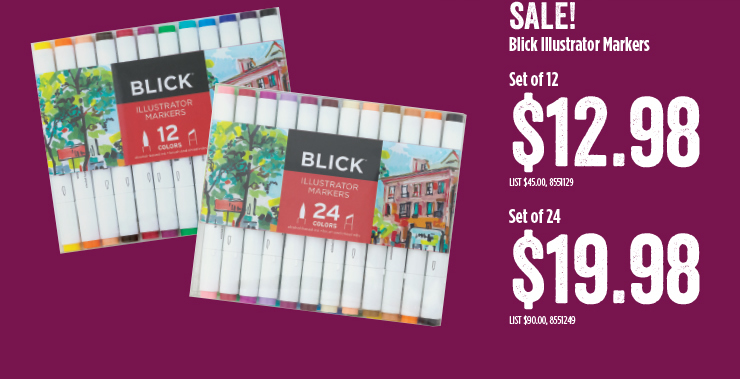 Sale Blick Illustrator Markers $12.98 and $19.98