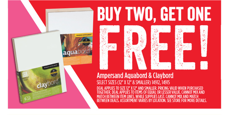Buy Two, Get One FREE! Ampersand Aquarbord & Claybord - Select Sizes (12