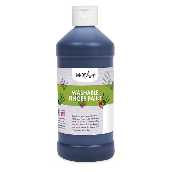 Handy Art Washable Finger Paint, Black, 16 oz Bottle
