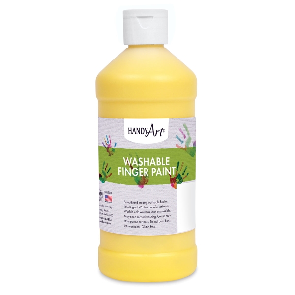 Handy Art Washable Finger Paint, Yellow, 16 oz Bottle