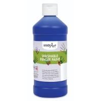 Handy Art Washable Finger Paint, Blue, 16 oz Bottle
