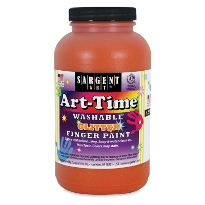 Sargent Washable Glitter Finger Paint, Orange