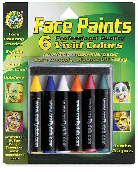 Vivid Face Paint Crayons, Pkg of 6
