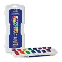 Prang Semi-Moist Watercolor Pans, 16-Color Set, Square