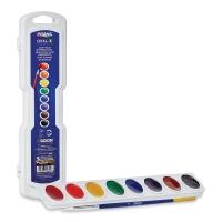 Prang Semi-Moist Watercolor Pans, 8-Color Oval Set
