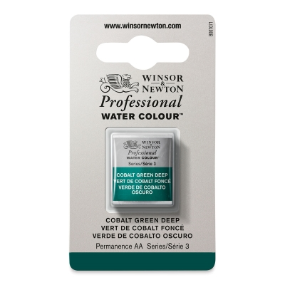 Professional Watercolor Half Pan, Cobalt Green Deep