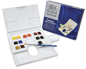 Winsor & Newton Cotman Watercolors Compact Set - Assorted Colors, Set of 14, Half pans