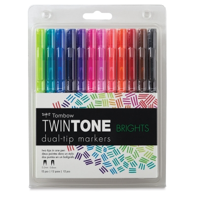 TwinTone Dual Tip Markers, Set of 12 Brights