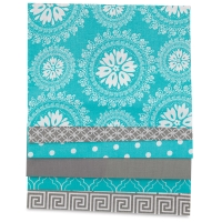 Iron-On Fabric Sheets, Pkg of 6Gray and Turquoise
