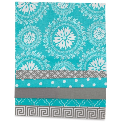 Iron-On Fabric Sheets, Pkg of 6<br/>Gray and Turquoise
