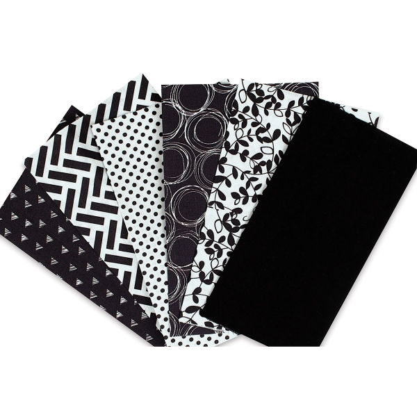 Iron-On Fabric Sheets, Pkg of 6<br/>Black and White
