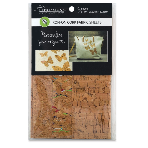 Iron-On Fabric Sheets, Pkg of 3, Cork