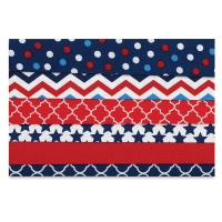 Iron-On Fabric Sheets, Pkg of 6,Red, White, and Blue