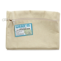 Natural Cotton Zipper Bags, Pkg of 3