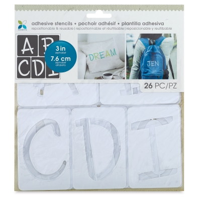 """Adhesive Fabric Stencil,  Fun Font Uppercase Alphabet, 3"""" Letters"""