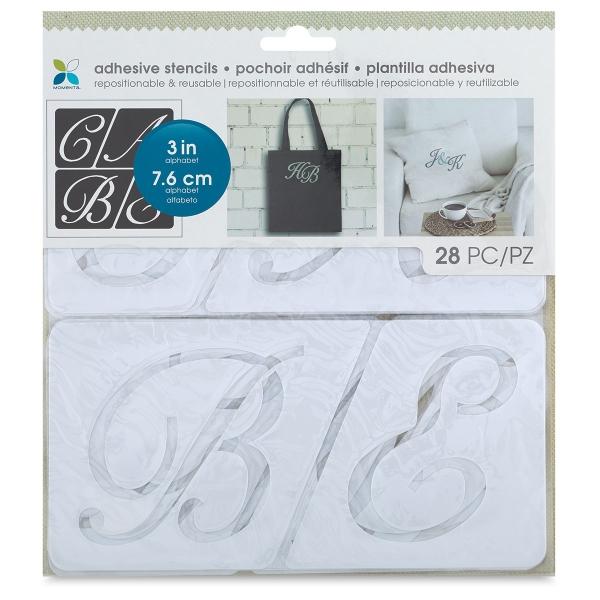 "Adhesive Fabric Stencil, Script Uppercase Alphabet, 3"""