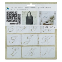 "Adhesive Fabric Stencil, Script Uppercase Alphabet, 1-1/4"""