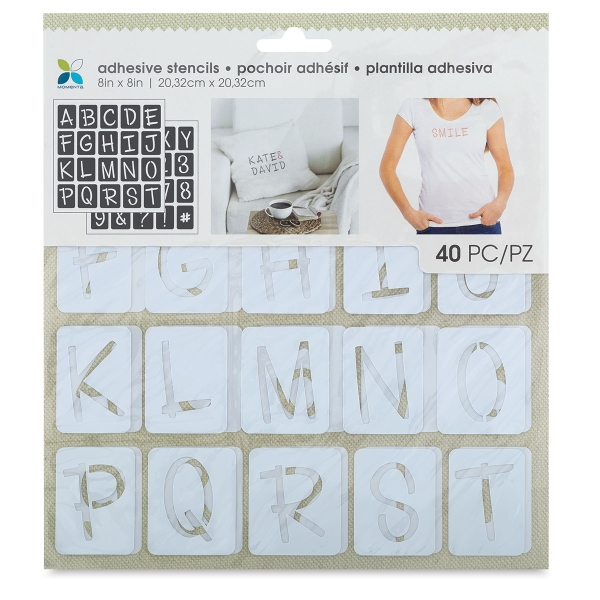 "Adhesive Fabric Stencil, Fun Font Uppercase Alphabet, 1-1/4"" Letters"