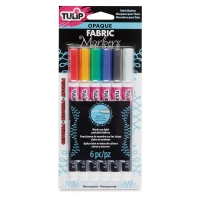 Opaque Bullet Tip Fabric Markers, Set of 6, Primary