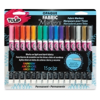 Opaque Bullet Tip Fabric Markers, Set of 15, Rainbow