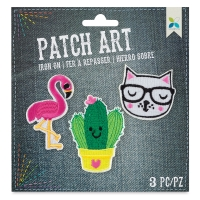 Iron-On Patch Art (Flamingo, Cactus, and Cat)