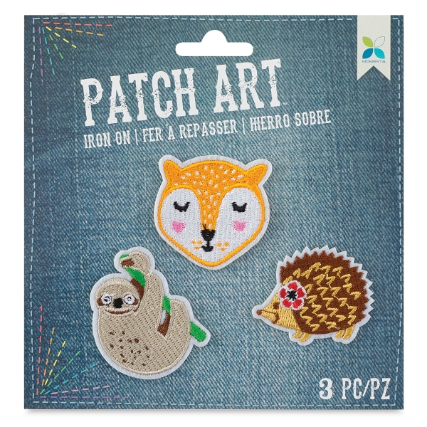 Iron-On Patch Art (Sloth, Fox, and Hedgehog)