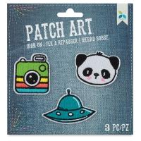 Iron-On Patch Art (Camera, UFO, and Panda)
