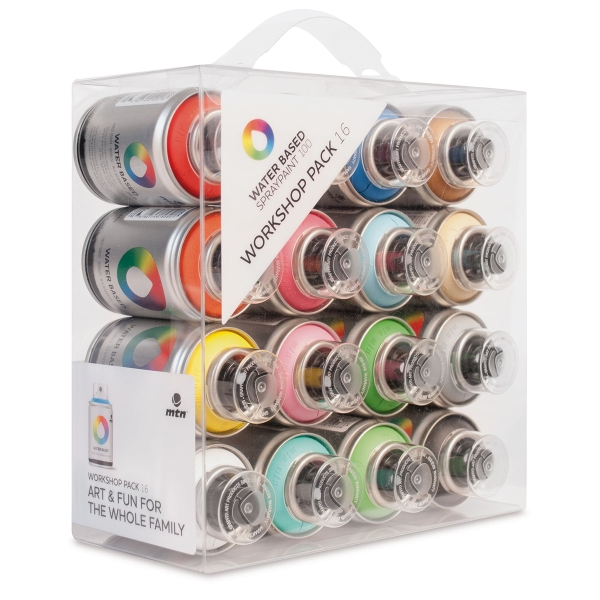 MTN Water Based Spray Paint, Workshop Pack of 16, 100 ml cans