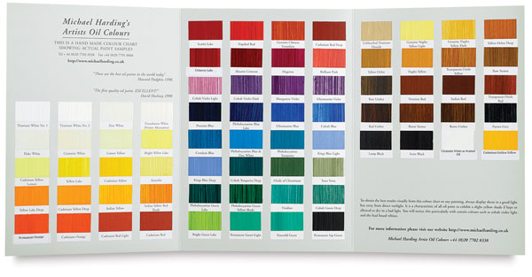 chart level oil colour: Michael harding artists oil colours blick art materials