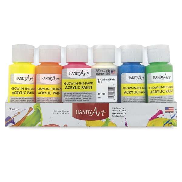 Glow-in-the-Dark Acrylic Paint, Set of 6