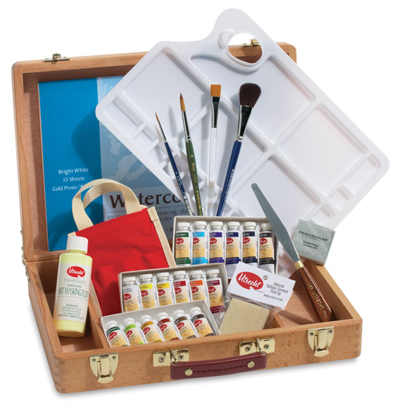 Professional Watercolor Wood Box Set