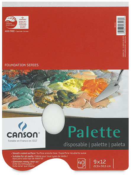 Disposable Palette w/ Thumb Hole, 40 Sheets