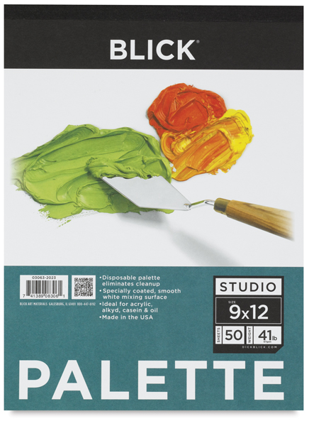 "Disposable Palette Paper Pad, 50 Sheets, 9"" × 12"""