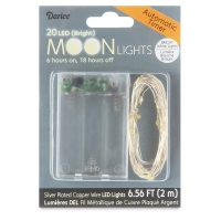 LED Moon Lights with Timer, 20 Lights,White Lights, Silver Wire