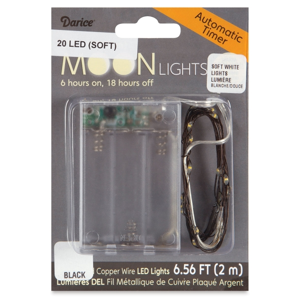 LED Moon Lights with Timer, 20 Lights,<br>White Lights, Black Wire