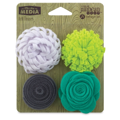 Felt Flowers, Pkg of 4, Lots of Lime